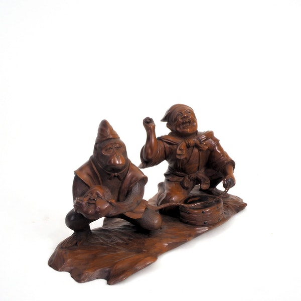 Japanese wood carving of a Monkey and trainer - image 2