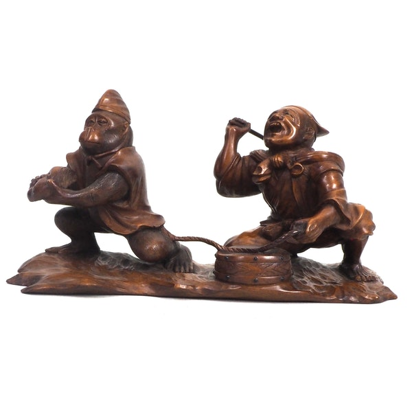 Japanese wood carving of a Monkey and trainer - image 5