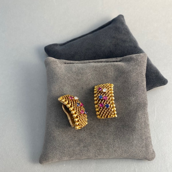18ct Gold Clip Earrings Ruby Diamond Sapphire by Sannit & Stein for Kutchinsky date circa 1960 SHAPIRO & Co since1979 - image 4