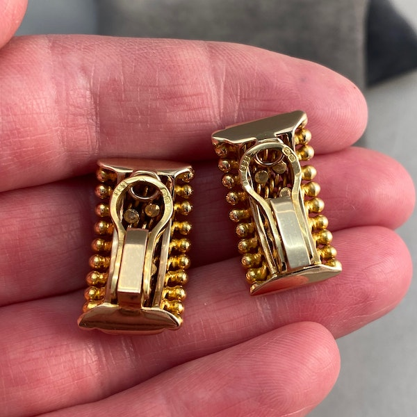 18ct Gold Clip Earrings Ruby Diamond Sapphire by Sannit & Stein for Kutchinsky date circa 1960 SHAPIRO & Co since1979 - image 6