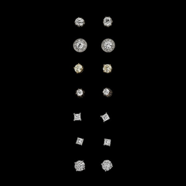 Various diamond stud/cluster  earrings - image 1
