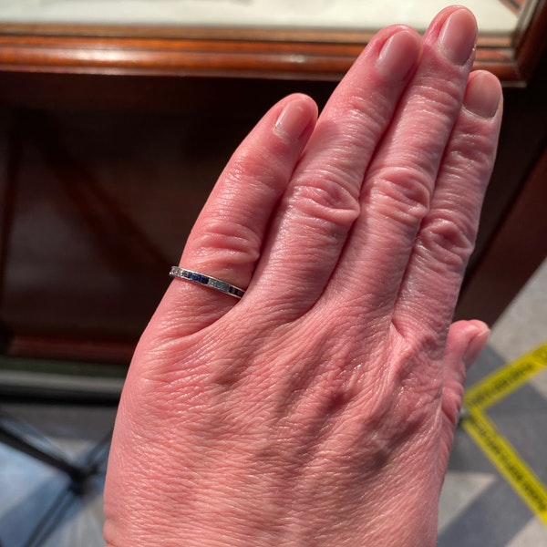 Sapphire Diamond Eternity Ring in 18ct White Gold date circa1970 SHAPIRO & Co since1979 - image 8