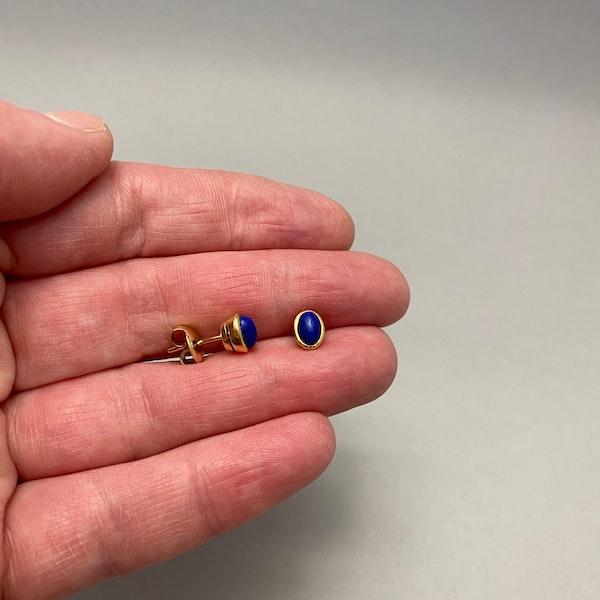 Lapis Lazuli Earrings in 18ct Gold date circa 1960 SHAPIRO & Co since1979 - image 3