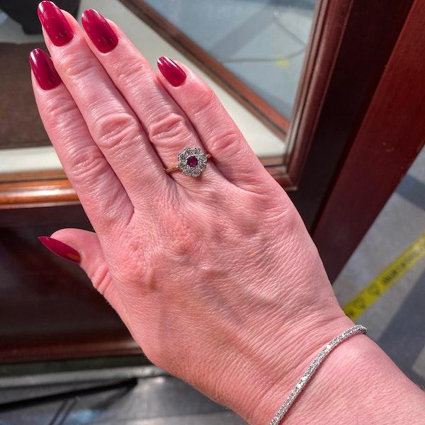 Ruby Diamond Ring in 18ct Gold date Birmingham 1968 SHAPIRO & Co since1979 - image 1