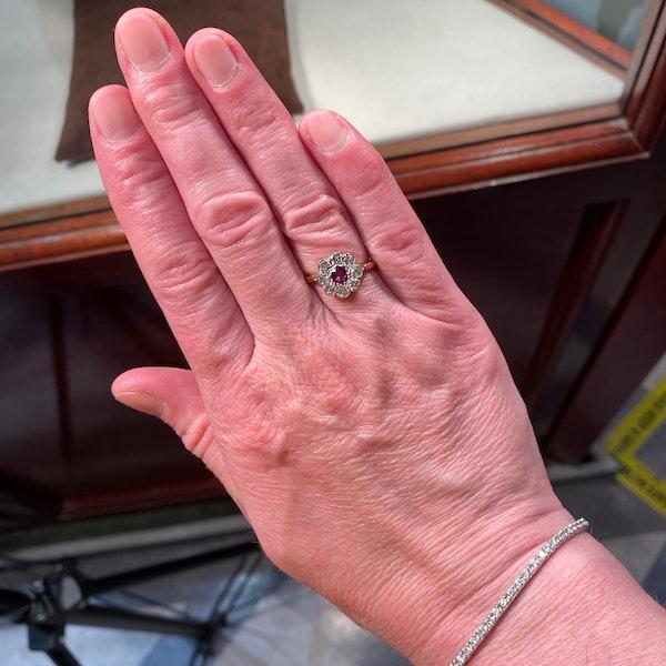 Ruby Diamond Ring in 18ct Gold date Birmingham 1968 SHAPIRO & Co since1979 - image 2