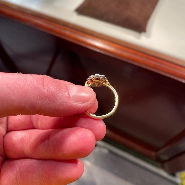 Ruby Diamond Ring in 18ct Gold date Birmingham 1968 SHAPIRO & Co since1979 - image 4