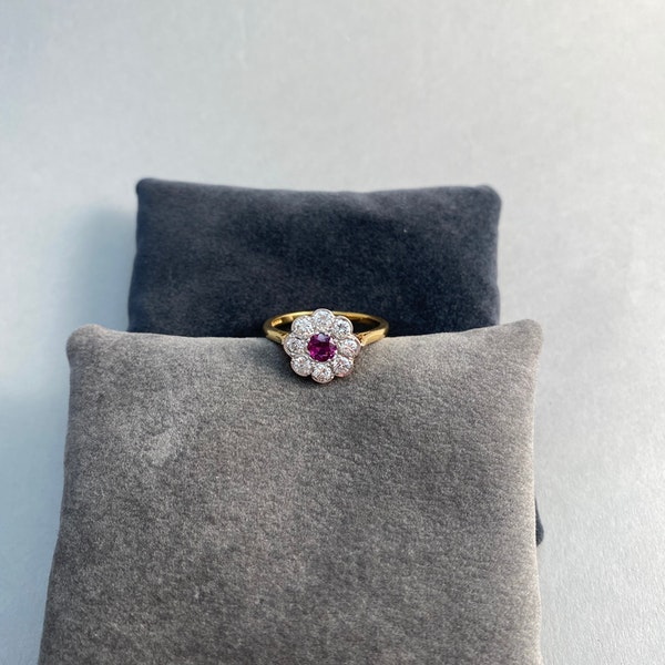 Ruby Diamond Ring in 18ct Gold date Birmingham 1968 SHAPIRO & Co since1979 - image 6