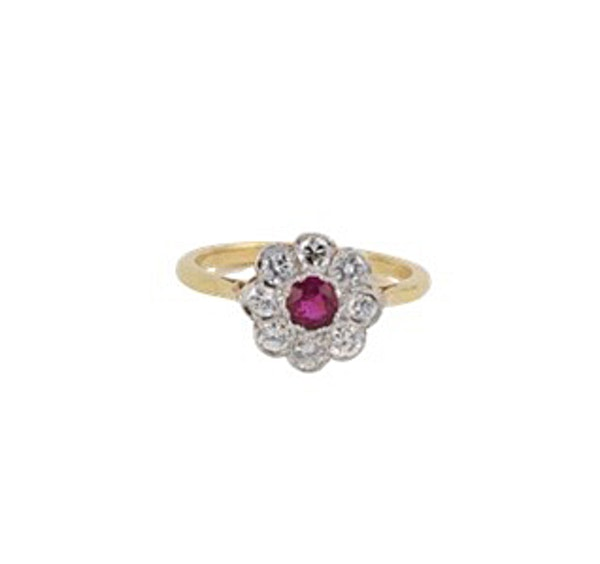 Ruby Diamond Ring in 18ct Gold date Birmingham 1968 SHAPIRO & Co since1979 - image 9
