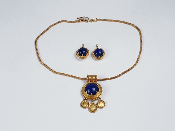 Archeological lapis lazuli gold necklace sku 4804  DBGEMS - image 2