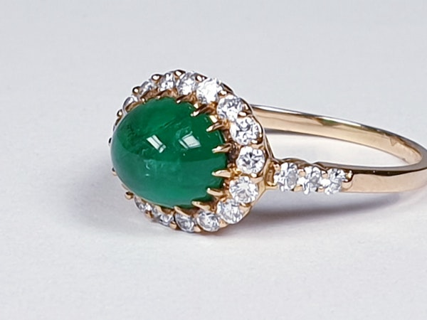 Cabochon emerald and diamond cluster ring sku 4807  DBGEMS - image 2