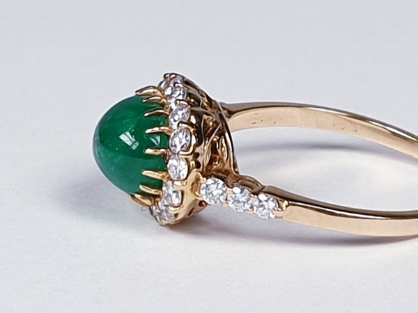 Cabochon emerald and diamond cluster ring sku 4807  DBGEMS - image 3