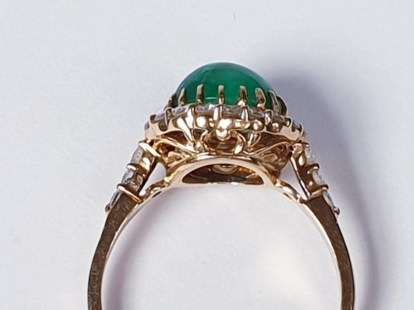 Cabochon emerald and diamond cluster ring sku 4807  DBGEMS - image 4