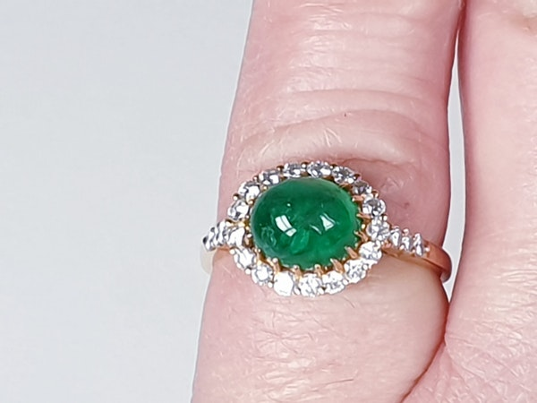 Cabochon emerald and diamond cluster ring sku 4807  DBGEMS - image 5
