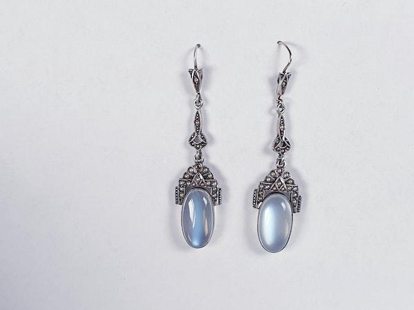 Moonstone and pearl drop earrings sku 4808  DBGEMS - image 2