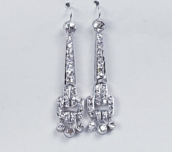 Art deco diamond drop earrings sku 4810 DBGEMS - image 4