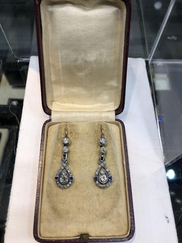 Art Deco diamond sapphire earings - image 2