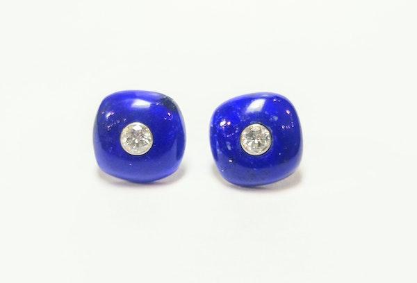 Diamond and lapis cushion earrings - image 1