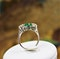 A very fine Emerald & Diamond Three Stone Ring set in Platinum, Circa 1980 - image 5