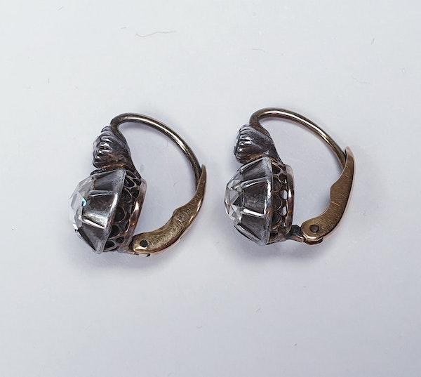 Chunky antique rose cut diamond drop earrings sku 4815  DBGEMS - image 3