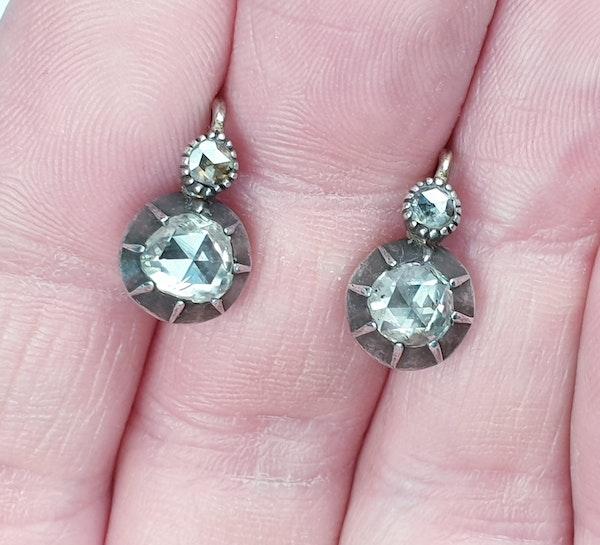 Chunky antique rose cut diamond drop earrings - image 4