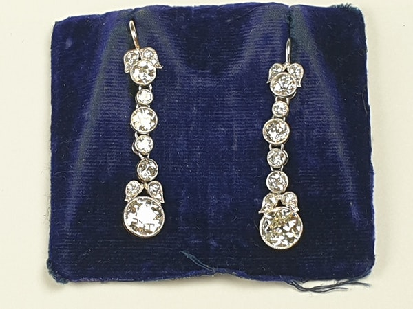 Art deco diamond drop earrings sku 4820  DBGEMS - image 2