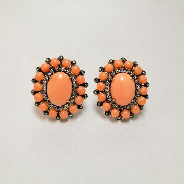 18ct Yellow Gold Coral and Diamond Earrings - image 1
