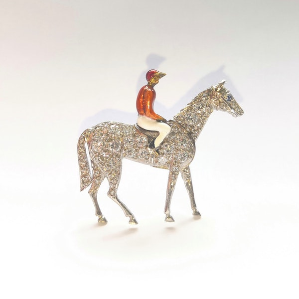 Platinum and diamond set enamelled jockey brooch - image 1