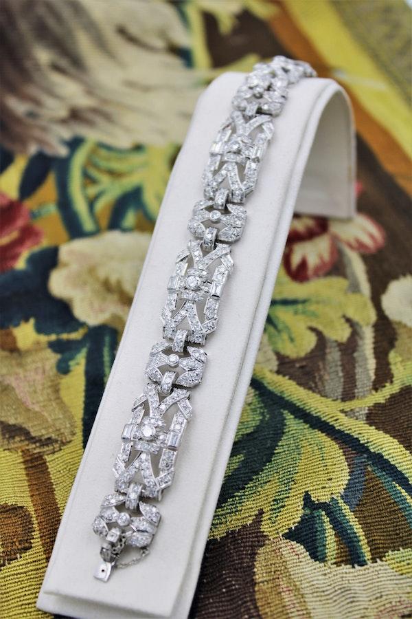 """An exquisite Diamond Art Deco """"Plaque"""" Bracelet set in Platinum, Circa 1930. - image 1"""