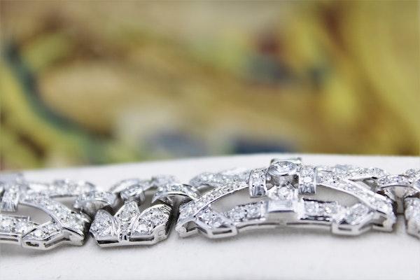 """An exquisite Diamond Art Deco """"Plaque"""" Bracelet set in Platinum, Circa 1930. - image 3"""