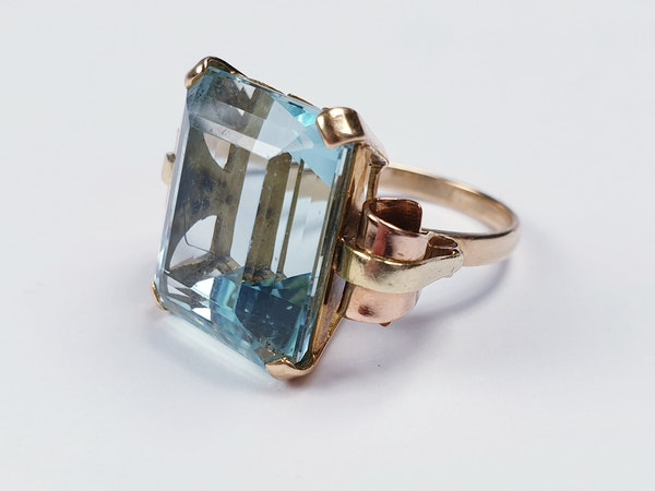 1930' Aquamarine dress ring sku 4822  DBGEMS - image 2