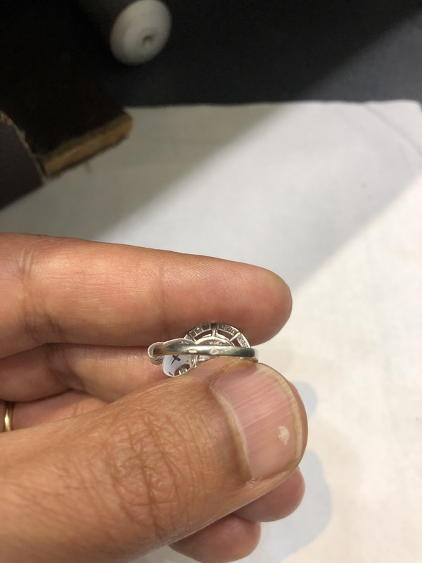 2.57 ct French Art Deco Diamond platinum ring - image 6