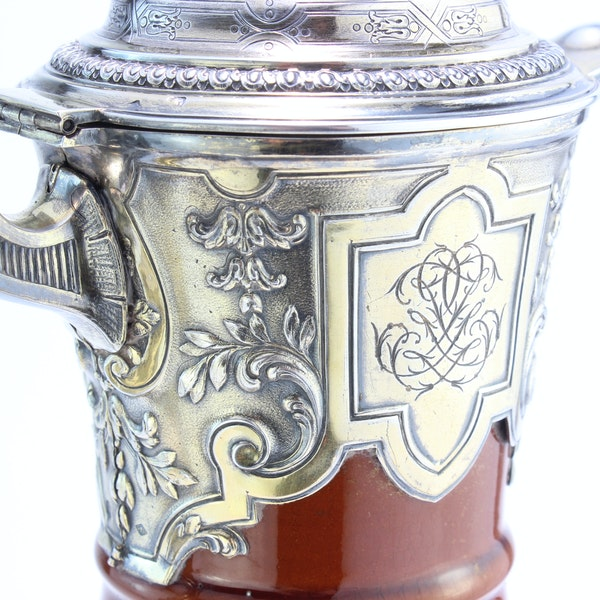 French silver and ceramic Claret Jug by Bointaburet with special design of ceramic by Clement Massier( 1844-1917) - image 3