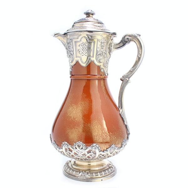 French silver and ceramic Claret Jug by Bointaburet with special design of ceramic by Clement Massier( 1844-1917) - image 2