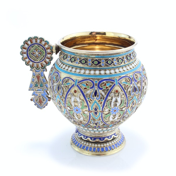 Russian silver and enamel cup and saucer, Ivan Saltykov, Moscow 1887 - image 3