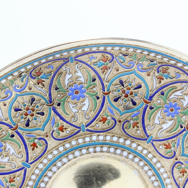 Russian silver and enamel cup and saucer, Ivan Saltykov, Moscow 1887 - image 4