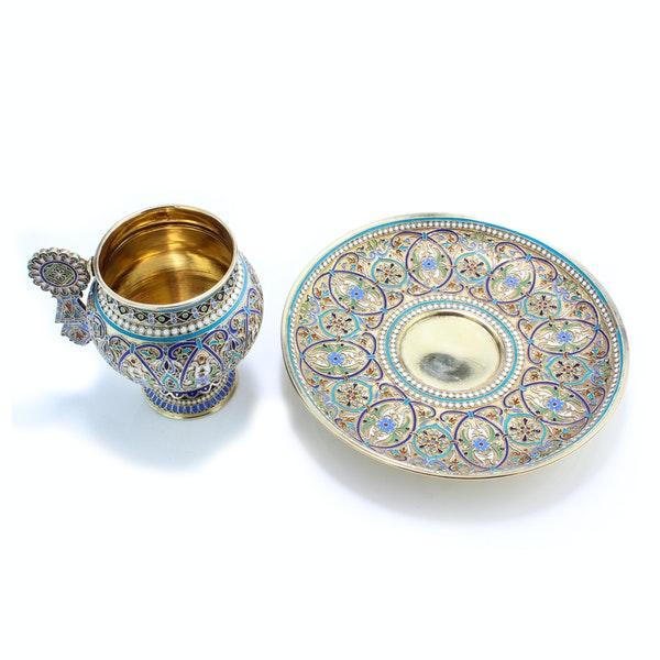 Russian silver and enamel cup and saucer, Ivan Saltykov, Moscow 1887 - image 2