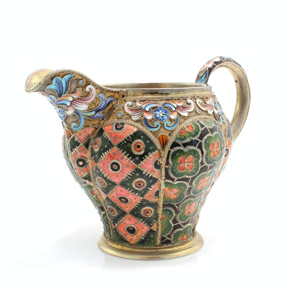Russia silver-gilt and cloisonné enamel sugar bowl and creamer, 6th Artel, Moscow, 1908-1917. - image 4