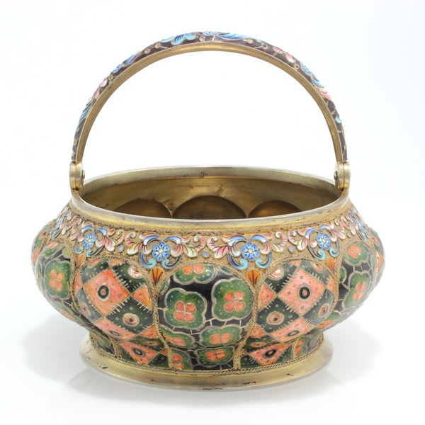 Russia silver-gilt and cloisonné enamel sugar bowl and creamer, 6th Artel, Moscow, 1908-1917. - image 3