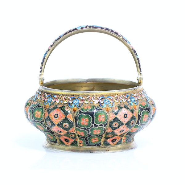 Russia silver-gilt and cloisonné enamel sugar bowl and creamer, 6th Artel, Moscow, 1908-1917. - image 5