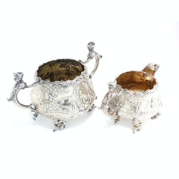 English silver creamer and sugar bowl by Joseph and John Angell, 1836,1840 - image 3