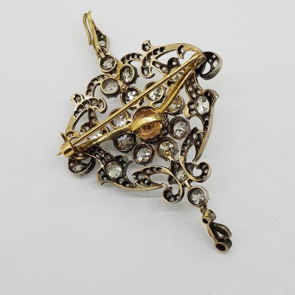Old cut diamond brooch/pendant Est 4 - 5 cts - image 2