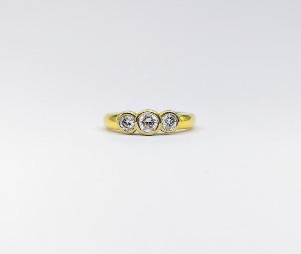 18ct Collet  Set 3 Stone Diamond Ring - image 2