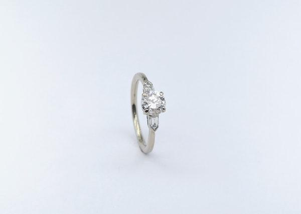 Platinum Brilliant & Baguette 3 Stone Diamond Ring - image 1