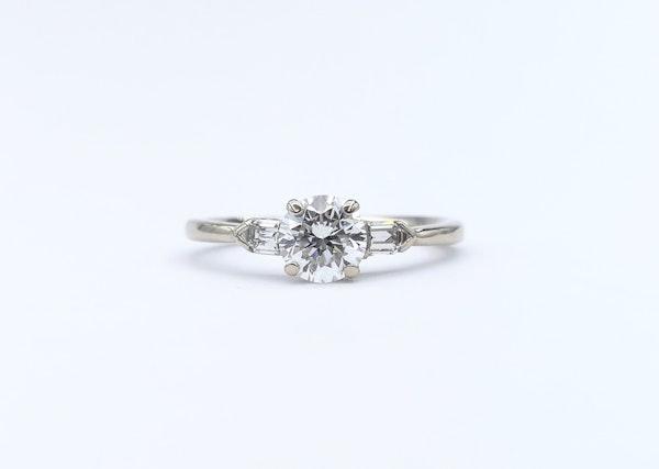 Platinum Brilliant & Baguette 3 Stone Diamond Ring - image 3