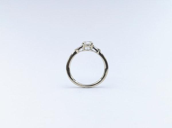 Platinum Brilliant & Baguette 3 Stone Diamond Ring - image 2