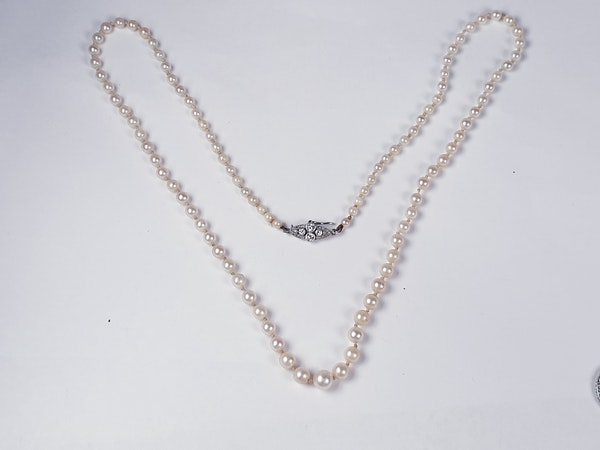 Art deco diamond and pearl necklace sku 4826  DBGEMS - image 3