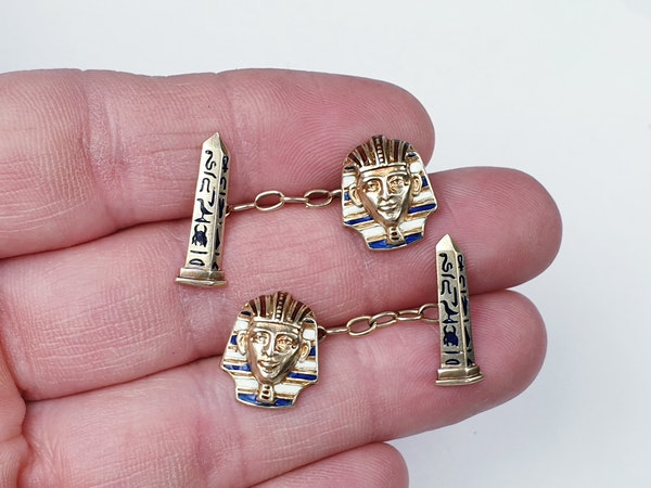 Pair of Egyptian revival gold and enamel cufflinks sku 4831  DBGEMS - image 3