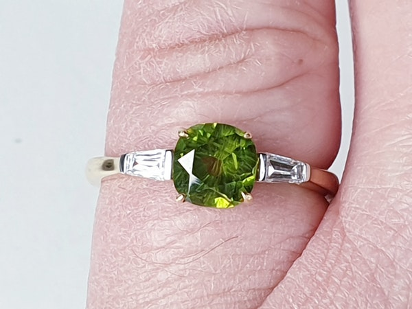 Rare 1.20ct demantoid garnet and tapered baguette diamond ring sku 4826  DBGEMS - image 2