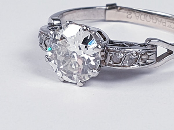 Art deco diamond engagement ring sku 4832  DBGEMS - image 2