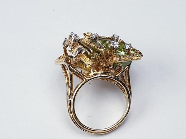 Stylish retro peridot and diamond dress ring sku 4833    DBGEMS - image 3